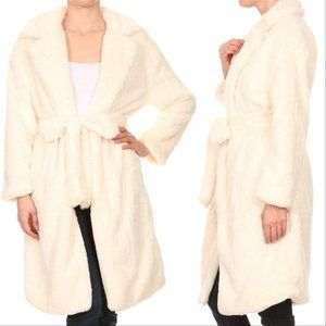 Long Teddy Coat - Cream